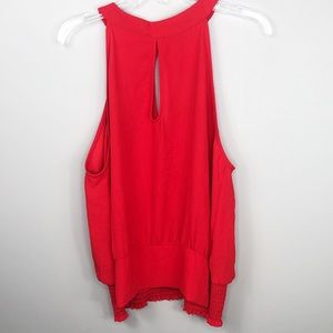 Express Red Drape Front Halter Top